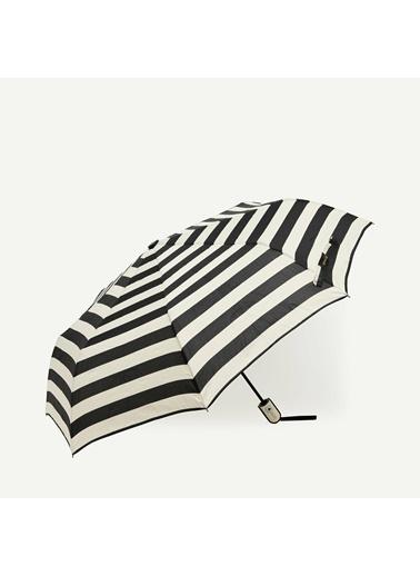 Yargıcı Kalın Yatay Çizgili Şemsiye Siyah